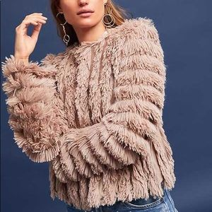 Anthropologie Greylin Cordella Faux Fur Cardigan